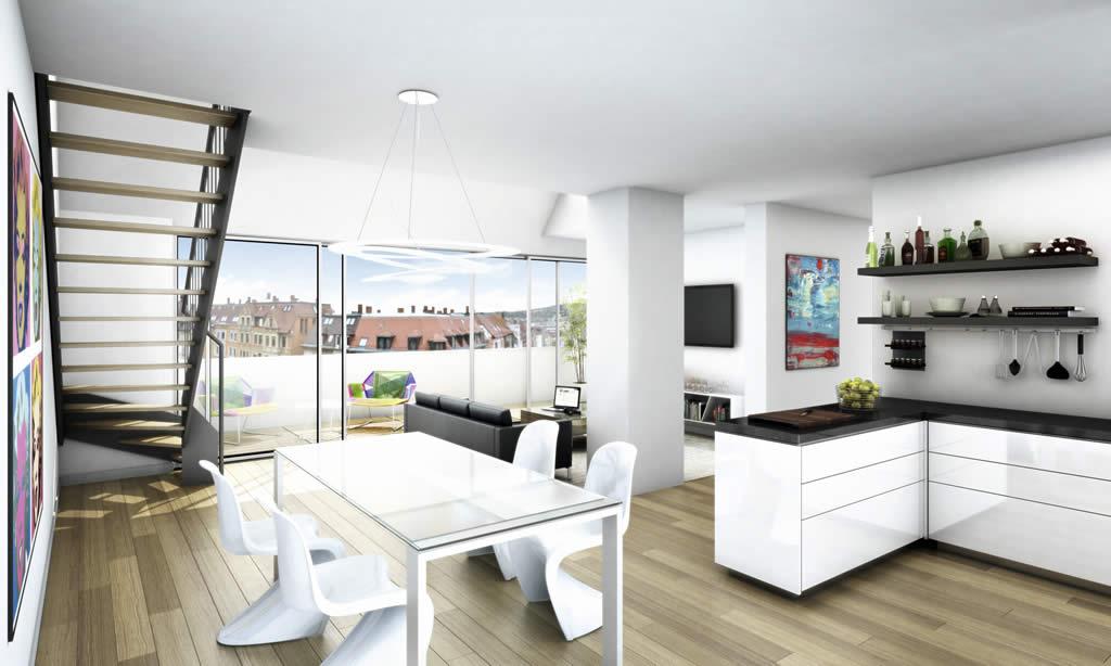 die wohnungen dg w2. Black Bedroom Furniture Sets. Home Design Ideas